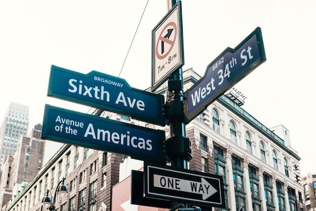 Дорожные знаки на столбе в центре города
