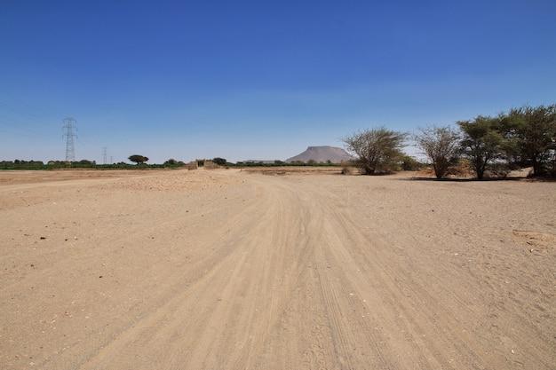 The road in the small village on nile river sudan