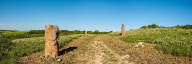 The road in the steppe with scythian stone idols on the sidelines