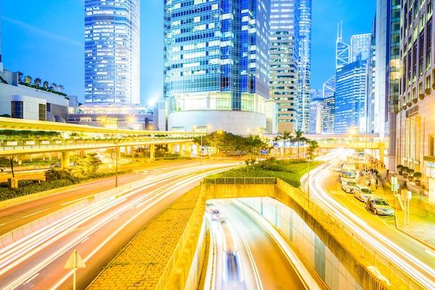 Traffico stradale via della città di hong kong