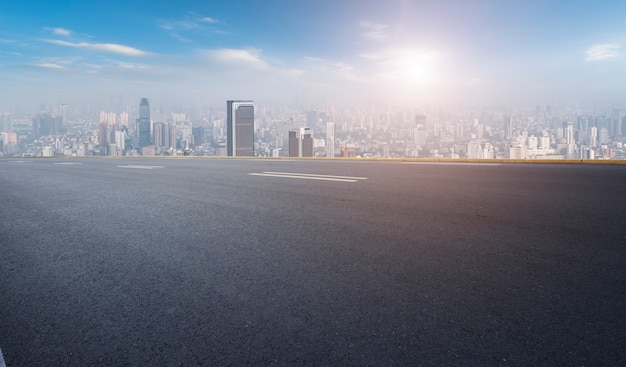 Road surface and nanchang city skyline