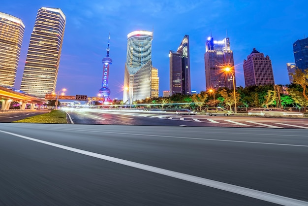 Road surface and urban architectural landscape skyline
