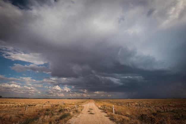 어두운 흐린 하늘 아래 녹지로 덮인 들판으로 둘러싸인 도로
