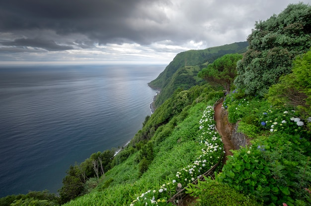 Road surrounded by flowers on the edge of the cliff overlooking the sea on cloudy day. sao miguel island. azores