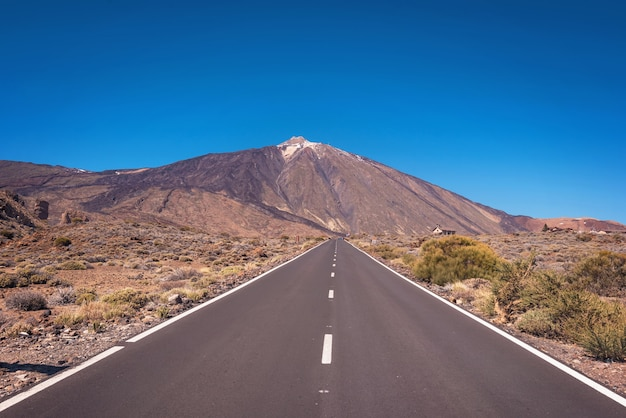 Road to teide national park in tenerife, canary islands, spain.