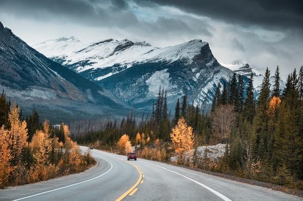 캐나다 앨버타주 밴프 국립공원의 가을 숲에서 록키 산맥을 따라 운전하는 로드 트립 자동차