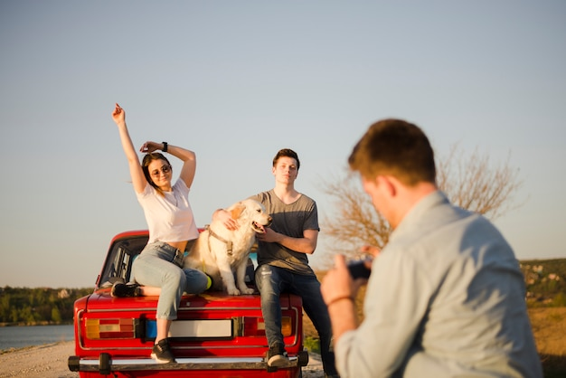 Road trip concept with group of friends