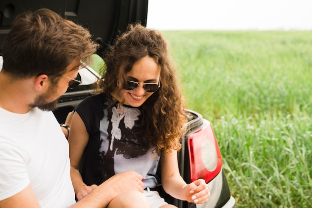 Road trip concept with young couple