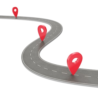 Road trip and journey route. winding road on a white background with pin pointer. road way location infographic template with pin pointer, 3d rendering