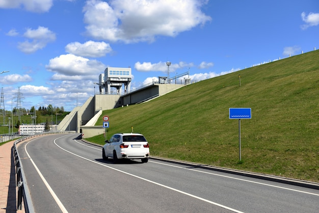 Road and tunnel under hydroelectric power station in aizkraukle, latvia