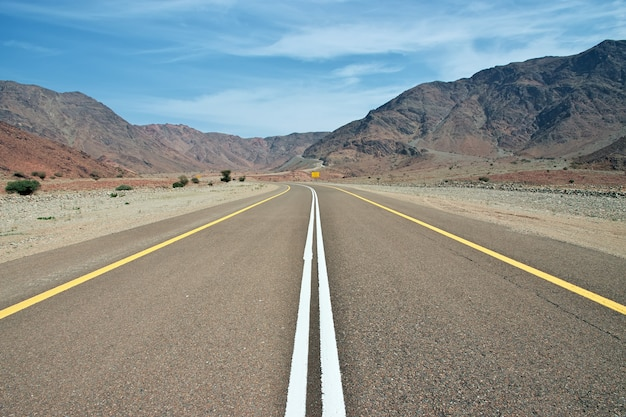 The road to wadi disah canyon, saudi arabia