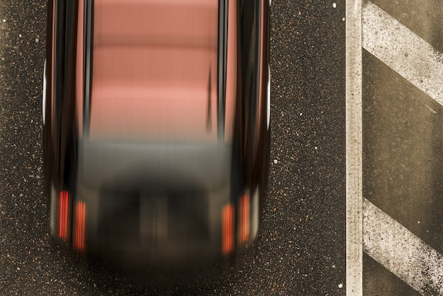 Road with motion car, top view