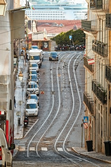 Road with rails in lisbon portugal