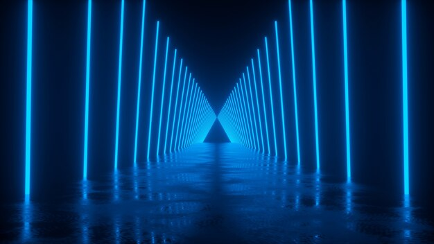 青い3dレンダリングのネオンラインに沿って反射する道路