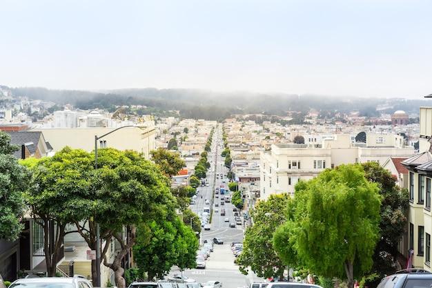 샌프란시스코의 나무와 건물이있는 도로