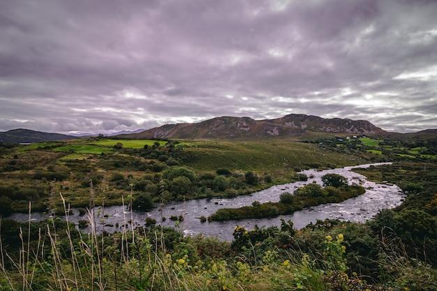 남부 아일랜드 시골을 가로 지르는 길가의 강
