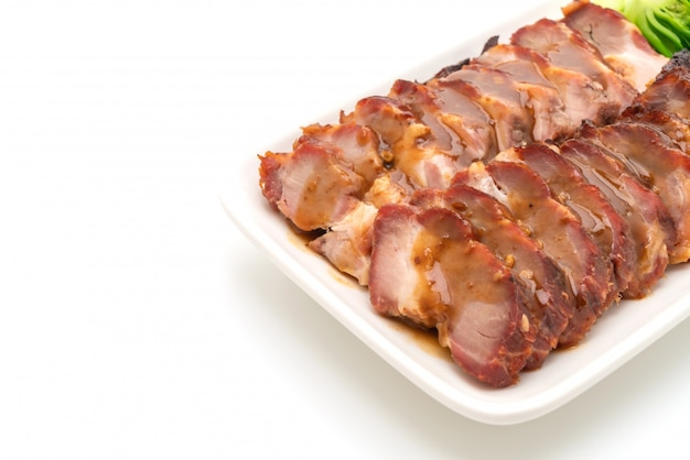 Roast barbecue red pork  with sauce