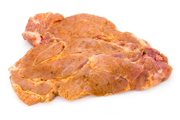 Roast beef in spice crust isolated on white background.