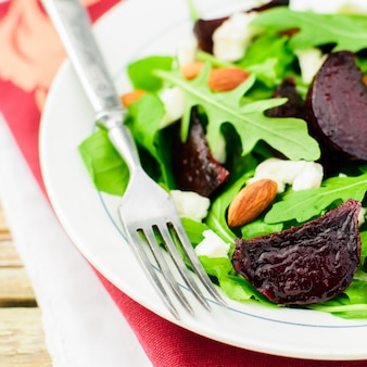 Roast beet, almond, feta and rocket salad