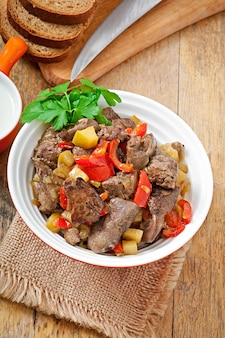 Roast chicken liver with vegetables