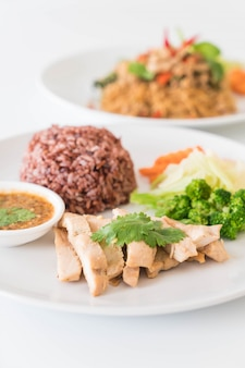 Roast chicken and vegetable with berry rice