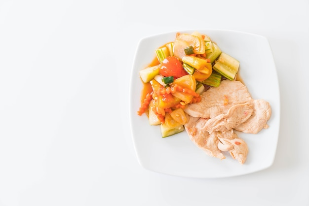 Roast chicken with mixed vegetable sour and sweet stir-fry