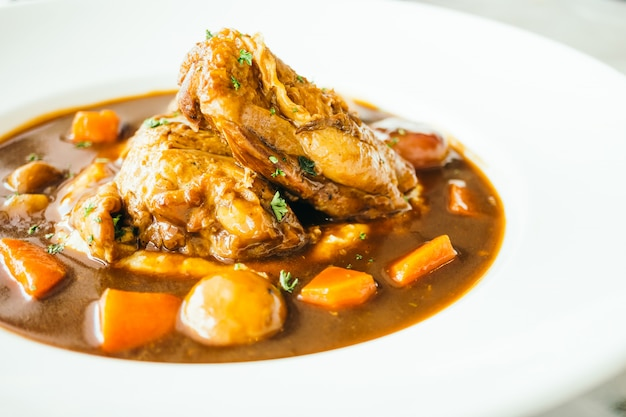 Roast chicken with red wine sauce