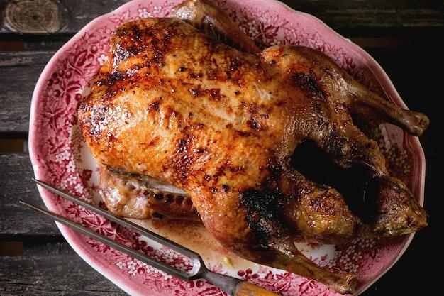 Roast duck on a plate