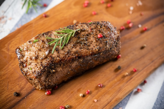 Roasted beef sirloin with rosemary and pepper