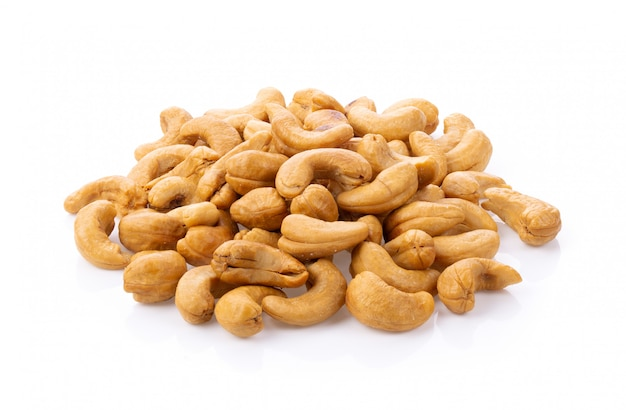Roasted cashew nuts with salt isolated