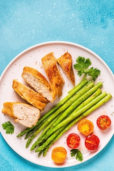 Roasted chicken breast with asparagus and tomatoes, top view.