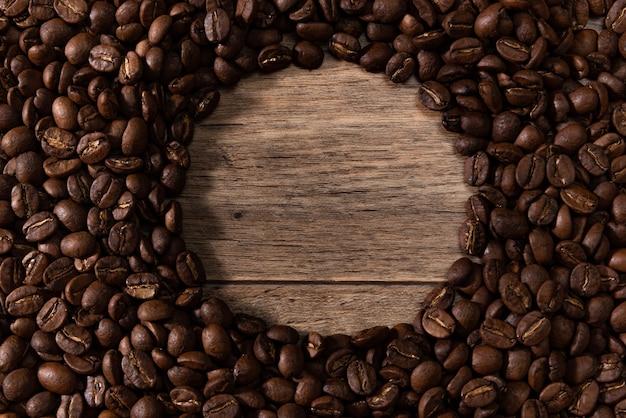 Roasted coffee bean top view for background.
