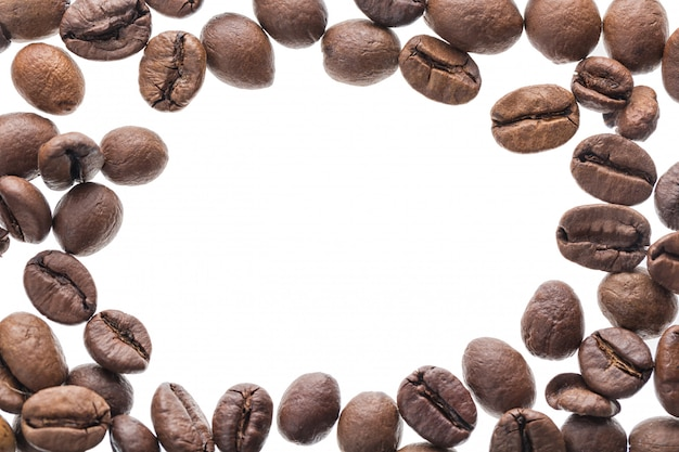 Roasted coffee beans background frame