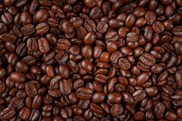 볶은 커피 콩 배경 또는 질감