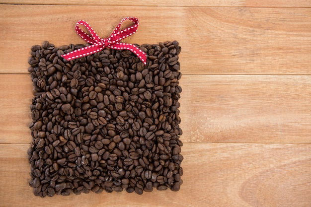 Roasted coffee beans forming gift box