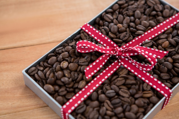 Roasted coffee beans in gift box
