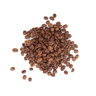 Roasted coffee beans isolated on white surface, top view