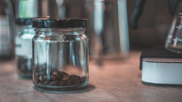 Roasted coffee beans in jar