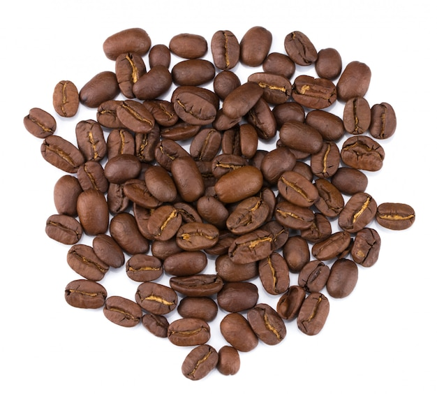 Roasted coffee beans pile from top isolated on white background with clipping path
