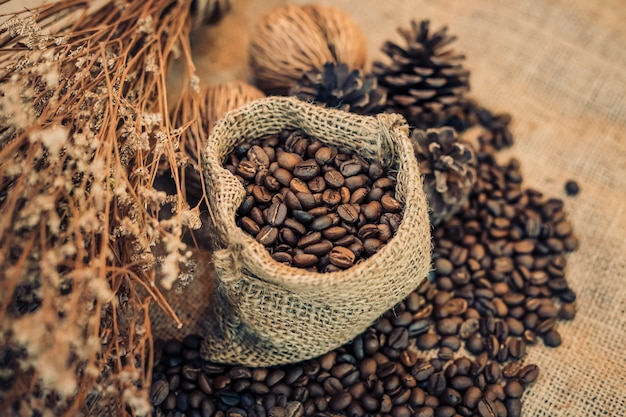 Roasted coffee beans in a sack