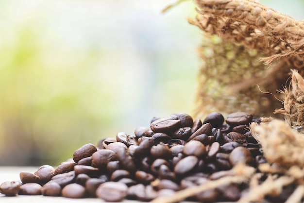 Roasted coffee beans in sack
