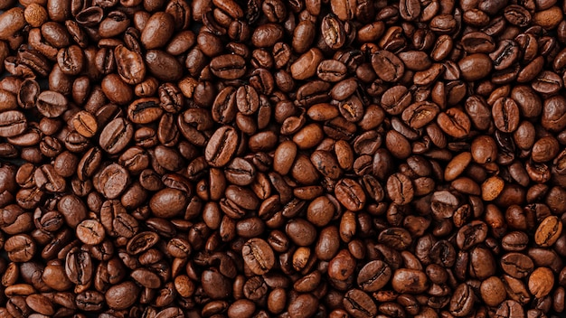 Roasted coffee beans wall texure. overhead view