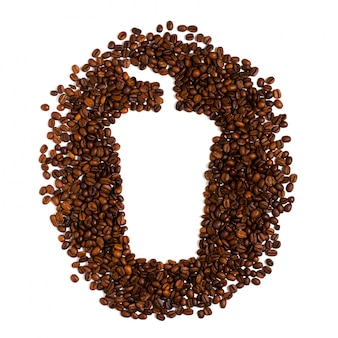 Roasted coffee beans on white. space for text in the shape of a coffee plastic cup
