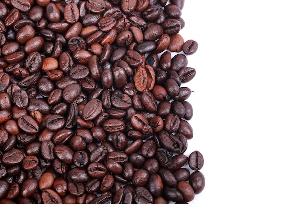 Roasted coffee beans with white background