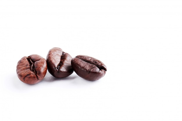 Roasted coffee beans with white copy space for text