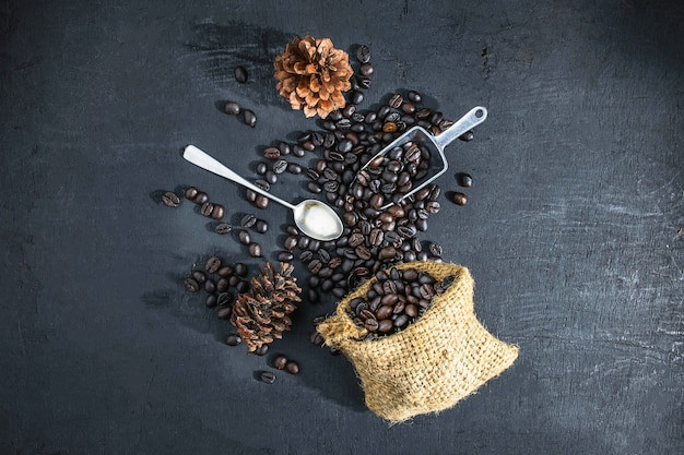 Roasted coffee on a black background