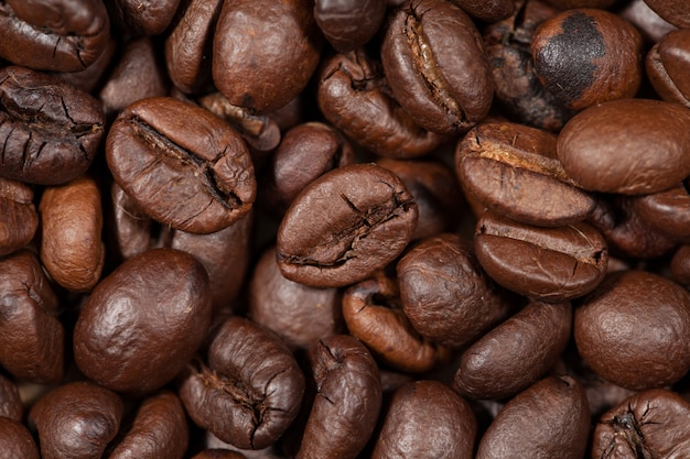 Roasted coffee of coffee beans texture background,