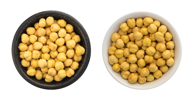 Roasted crispy chickpeas or chana snack with salt isolated
