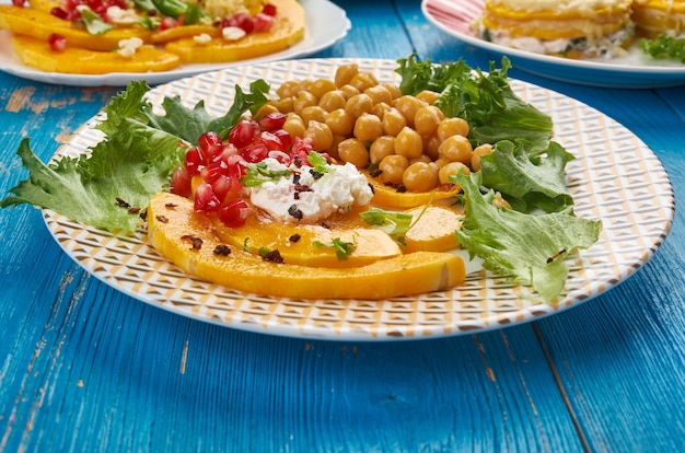 Roasted delicata squash salad with  chickpea