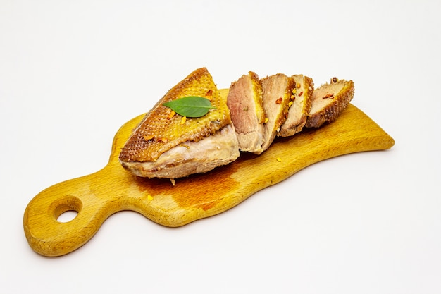 Roasted duck breasts and spices isolated